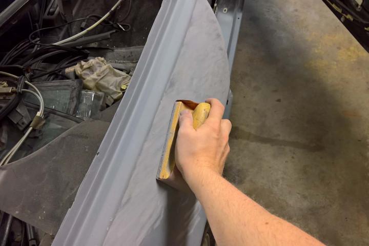 Block Sanding the Quarter Panel