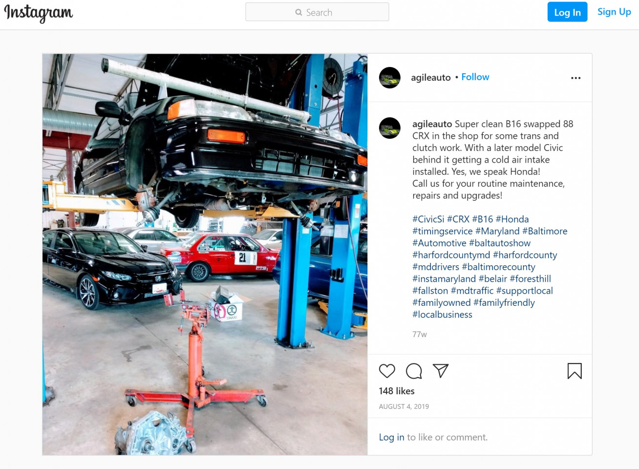 Instagram post from Agile Automotive